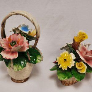 Vintage Italian Porcelain Floral Baskets Capo di Monte