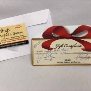 Gift Certificate to Karling's!