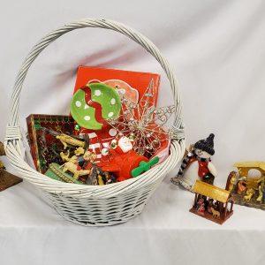 Nativity Basket and Christmas Decor
